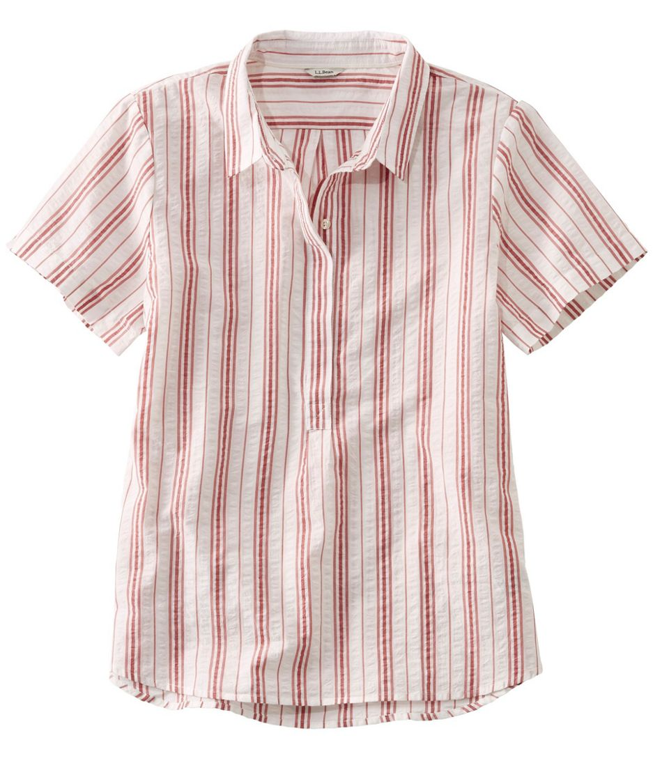 Textured Cotton Popover Shirt, Short-Sleeve Stripe
