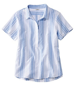 Women's Textured Cotton Popover Shirt, Short-Sleeve Stripe