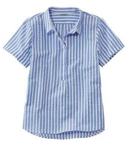 Women's Textured Cotton Popover Shirt, Short-Sleeve Stripe
