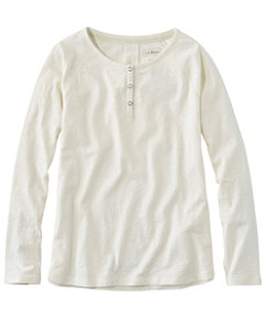 Women's Organic Cotton Tee, Long-Sleeve Henley