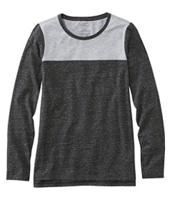 Super-Soft Shrink-Free Tee, Long-Sleeve Crewneck Colorblock