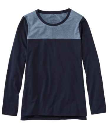 Women's Super-Soft Shrink-Free Tee, Long-Sleeve Crewneck Colorblock