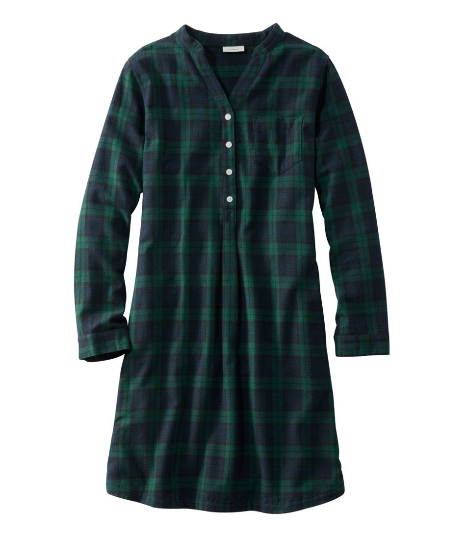 Women\'s Scotch Plaid Flannel Nightshirt, Popover Plaid