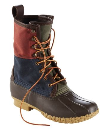 Signature Retro Colorblock Waxed-Canvas Bean Boots, 10""