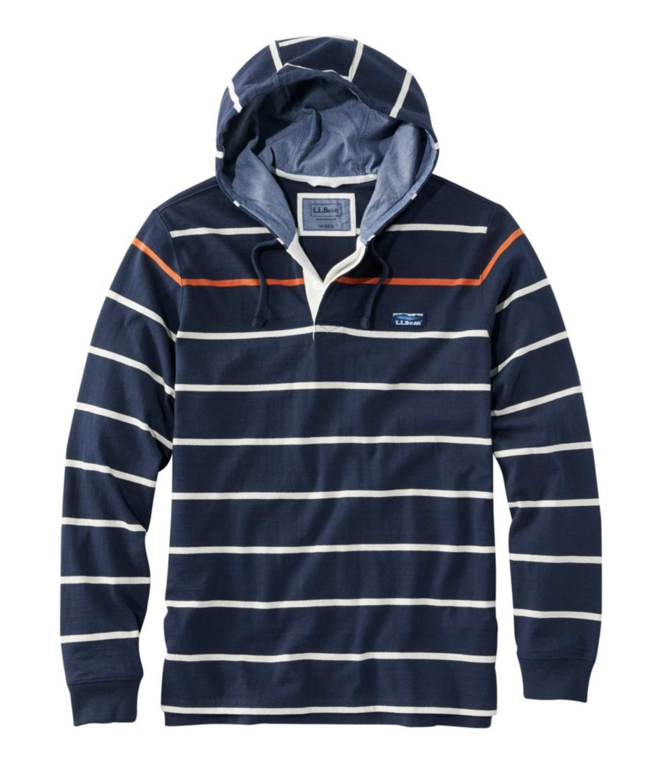 Lakewashed® Rugby, Traditional Fit Long Sleeve Hoodie Stripe by L.L.Bean