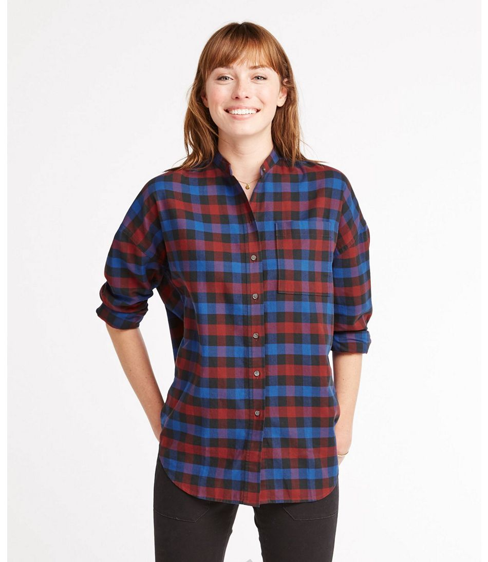 Signature Lightweight Flannel Oversized Shirt, Plaid