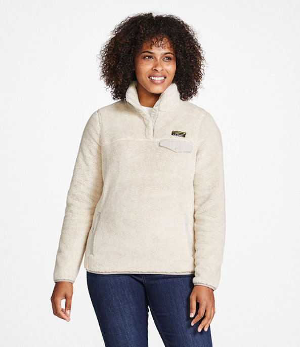 Women's Hi-Pile Fleece Pullover, Frost Gray Heather/Alloy Gray, large image number 1