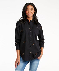 Signature Lightweight Flannel Oversized Shirt, Embroidered