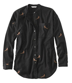 Women's Signature Lightweight Flannel Oversized Shirt, Embroidered