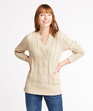 Signature Cotton Fisherman Sweater, V-Neck