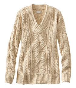 Women's Signature Cotton Fisherman Sweater, V-Neck Tunic