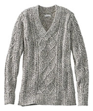 Signature Cotton Fisherman Sweater, V-Neck Tunic