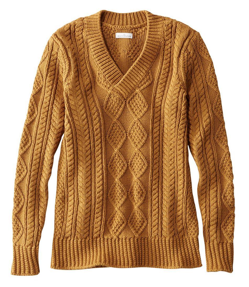 2cce05731f5 Women's Signature Cotton Fisherman Sweater, V-Neck Tunic