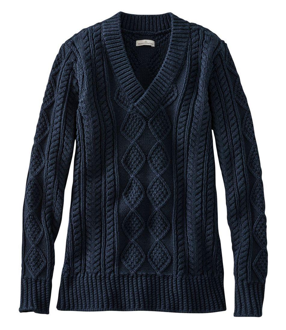Signature Cotton Fisherman Sweater, V-Neck Tunic