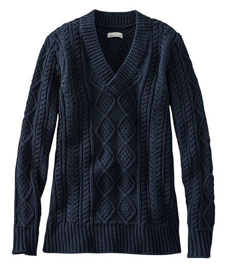Men's Vintage Style Clothing Signature Cotton Fisherman Sweater V-Neck $109.00 AT vintagedancer.com
