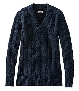 Women's Signature Cotton Fisherman Sweater, V-Neck Tunic