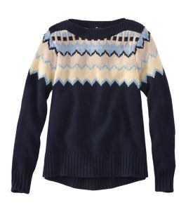Signature Washable Merino Boatneck Sweater, Fair Isle