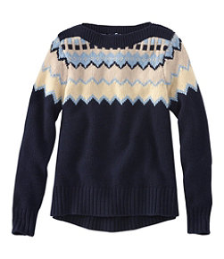 Women's Signature Washable Merino Boatneck Sweater, Fair Isle