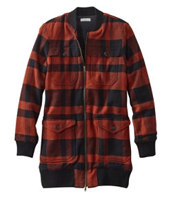 Women's Signature Chamois Long Bomber Jacket, Plaid