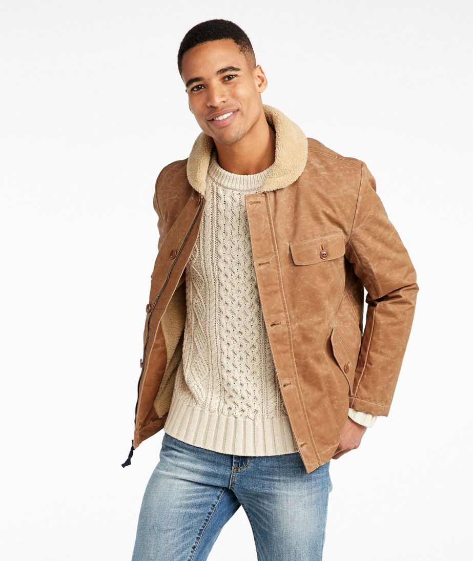 Signature Sherpa-Lined Waxed Cotton Jacket, Slim Fit