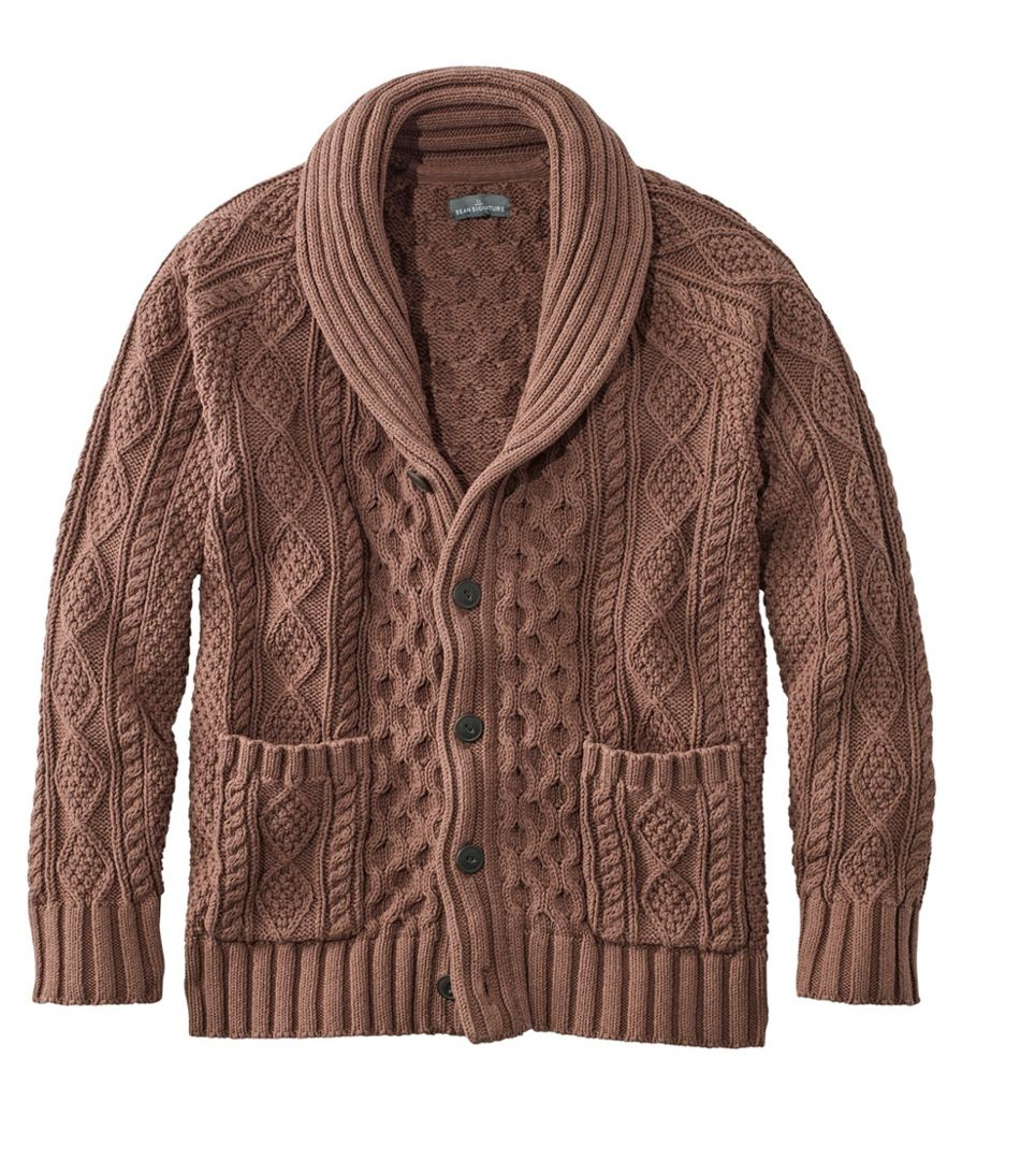 1950s Men's Clothing Signature Cotton Fisherman Sweater Shawl-Collar Cardigan $129.00 AT vintagedancer.com