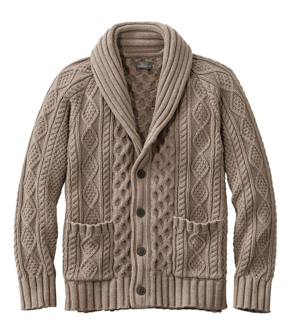 Edwardian Men's Shirts, Vests, Sweaters Signature Cotton Fisherman Sweater Shawl-Collar Cardigan $149.00 AT vintagedancer.com