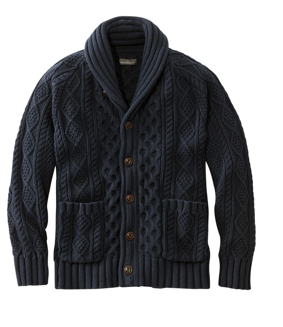 Men's Signature Cotton Fisherman Sweater, Shawl-Collar Cardigan