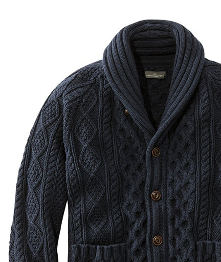 Men's Vintage Sweaters – 1920s to 1960s Retro Jumpers Signature Cotton Fisherman Sweater Shawl-Collar Cardigan $129.00 AT vintagedancer.com