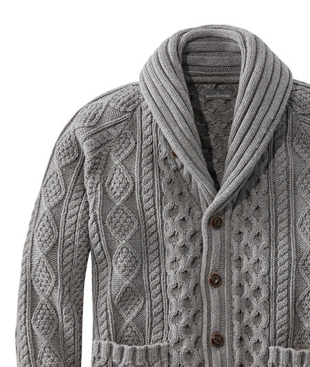 1920s Mens Sweaters, Pullovers, Cardigans Signature Cotton Fisherman Sweater Shawl-Collar Cardigan $129.00 AT vintagedancer.com