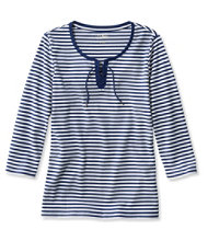 L.L.Bean Tee, Three-Quarter-Sleeve Lace-Up Stripe