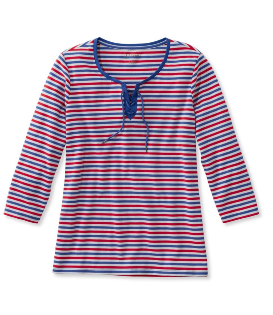 L.L.Bean Tee, Three-Quarter-Sleeve Lace-Up Stripe