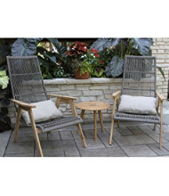 Wicker Teak Chairs, Set of Two