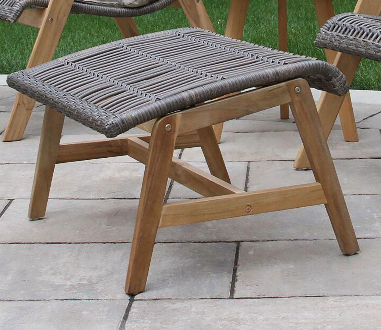 Wicker Teak Footstools, Set of Two