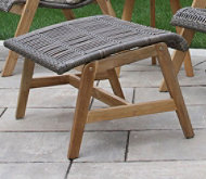 Wicker Teak Footstools, Set of Two