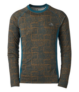 Men's L.L.Bean Midweight Base Layer Crew, Long Sleeve, Print