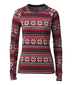 Women's L.L.Bean Midweight Crew Base Layer, Long Sleeve, Print