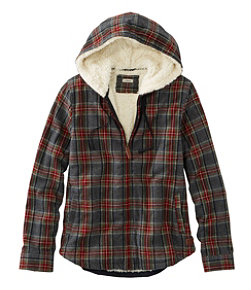 Women's Scotch Plaid Flannel Shirt, Sherpa-Lined Zip Hoodie