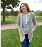 Women's Waffle-Stitch Sweater, Hooded Open Cardigan