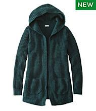 Waffle-Stitch Sweater, Hooded Open Cardigan