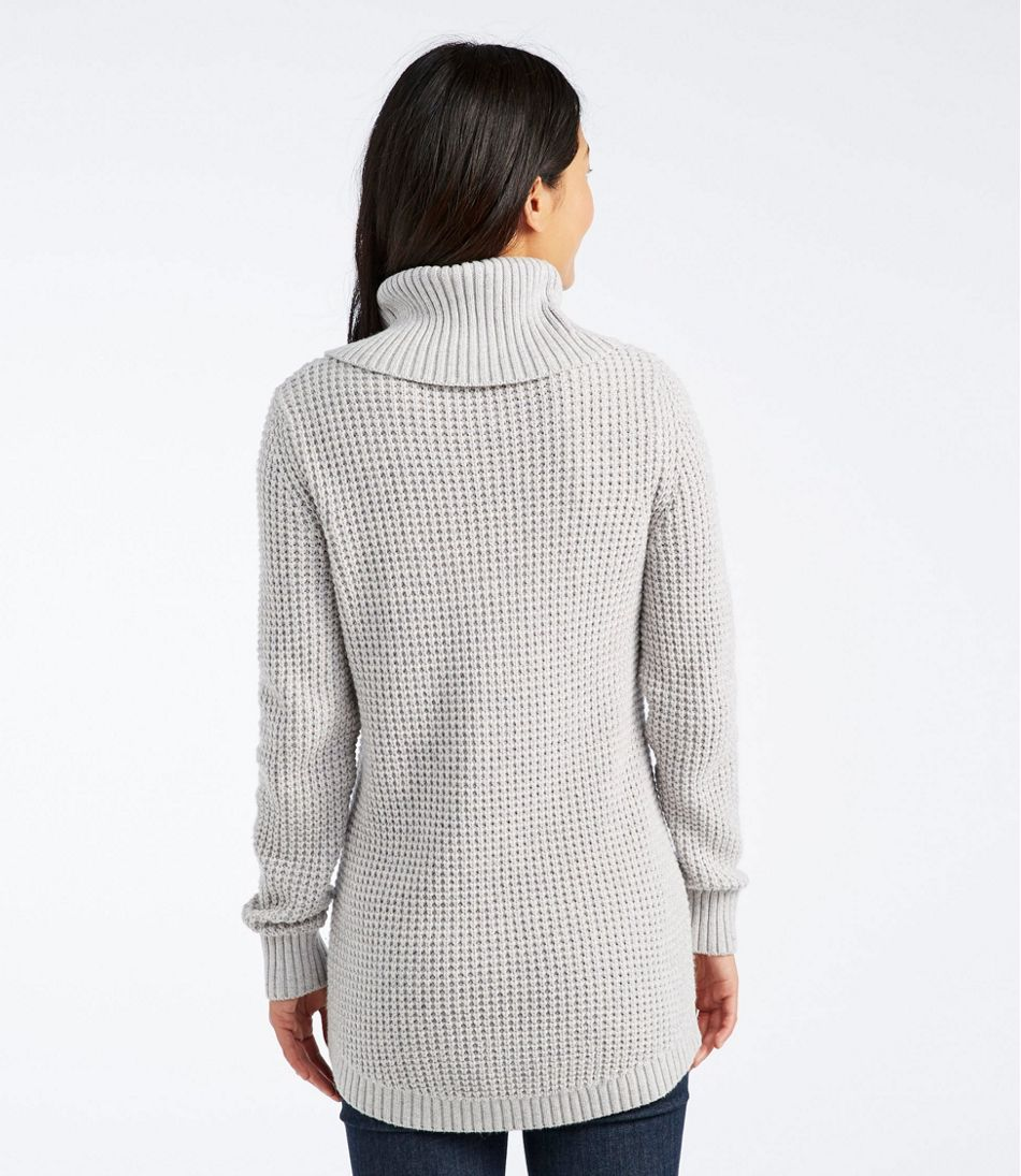 Waffle-Stitch Sweater, Cowlneck Pullover