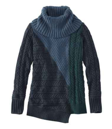 Women's Fisherman's Mixed-Stitch Sweater, Cowlneck