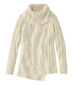 Fisherman's Mixed-Stitch Sweater, Cowlneck