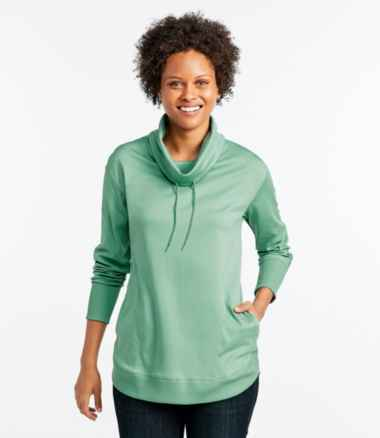 Pima Drawstring Cowlneck Tunic Long Sleeve