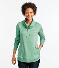 Pima Drawstring Cowlneck Tunic Long Sleeve Misses Regular