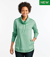 Pima Cotton Tee, Long-Sleeve Drawstring Cowlneck