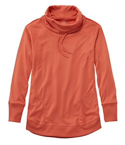 Women's Pima Cotton Tee, Long-Sleeve Drawstring Cowlneck