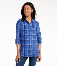 Women's Premium Washable Linen Button-Front Tunic, Plaid