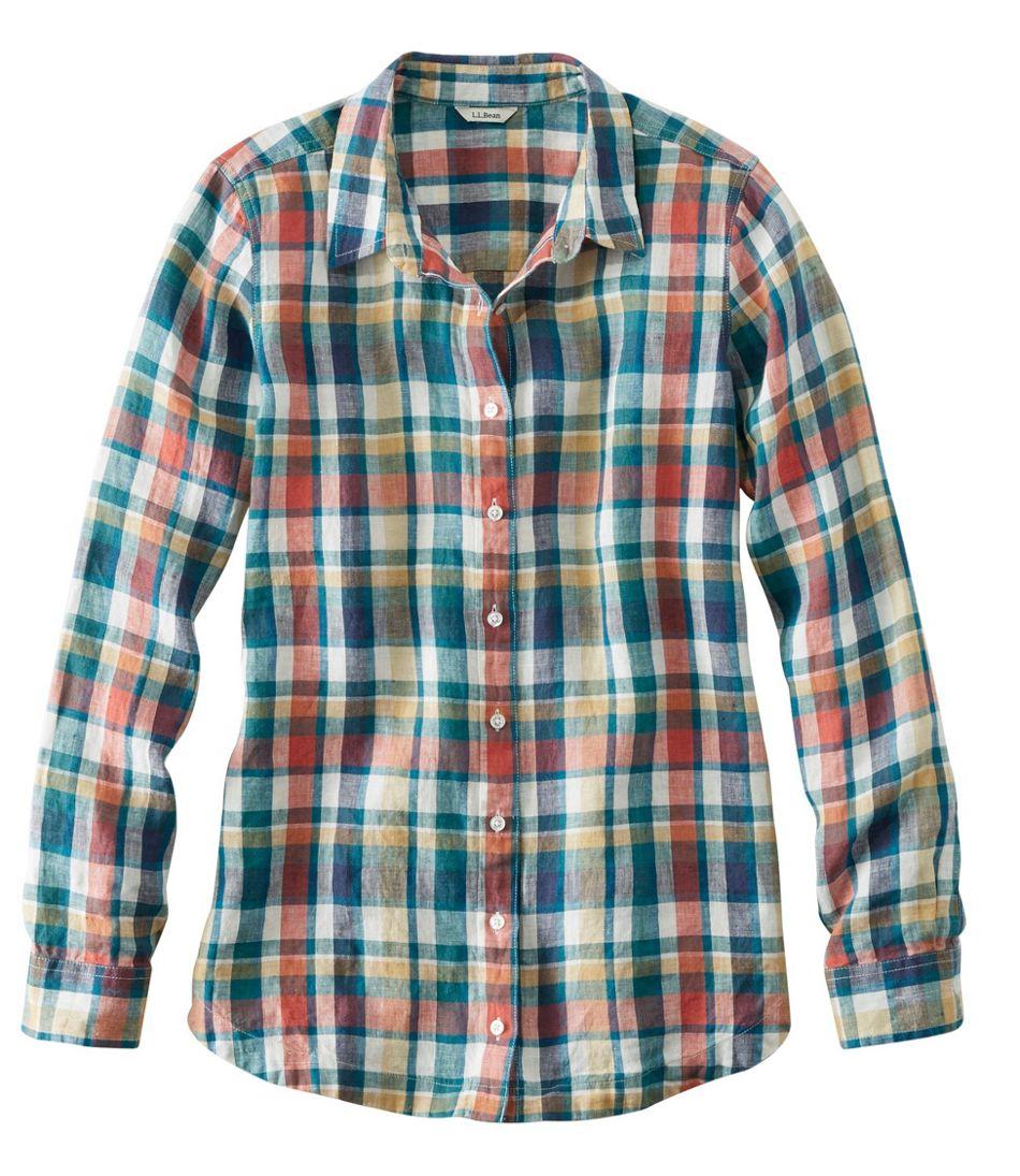 Premium Washable Linen Button-Front Tunic, Plaid