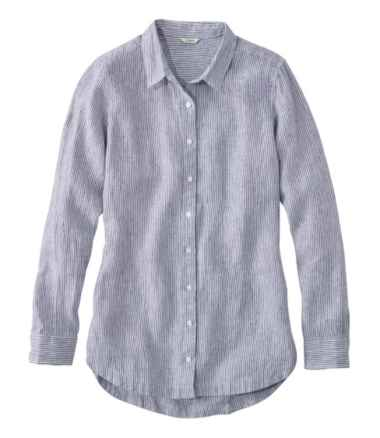 Premium Washable Linen Button-Front Tunic, Stripe