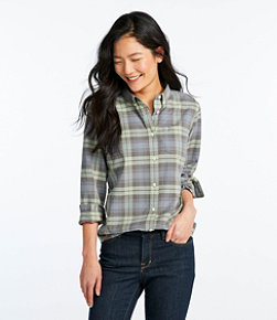 Women's Lakewashed Organic Cotton Oxford Shirt, Plaid